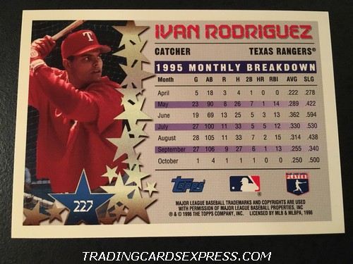 Ivan Rodriguez Rangers 1996 Topps Star Power 227 Back