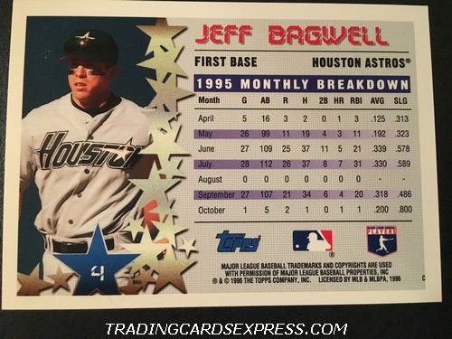 Jeff Bagwell Astros 1996 Topps Star Power 4 Back
