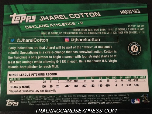 Jharel Cotton Athletics 2017 Topps Walmart Holiday Rookie Card HMW123 Back