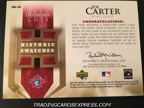 Joe Carter Blue Jays 2004 Upper Deck SP Legendary Cuts Historic Swatches Jersey Card HSJC Back