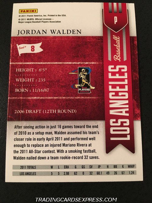 Jordan Walden Angels 2011 Panini Playoff Contenders Season Ticket Rookie Card 8 Back