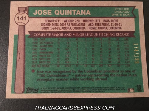 Jose Quintana White Sox 2015 Topps Archives Silver 141 174 199 Back