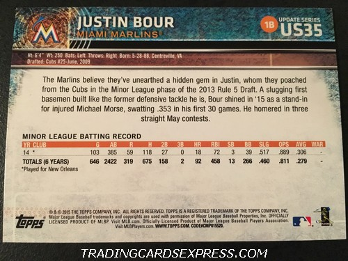 Justin Bour Marlins 2015 Topps Update Rookie Card US35 Back
