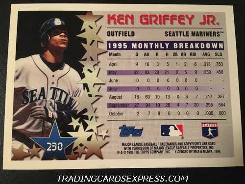Ken Griffey Jr. Mariners 1996 Topps Star Power 230 Back