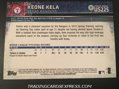Keone Kela Rangers 2015 Topps Rookie Card US225 Back
