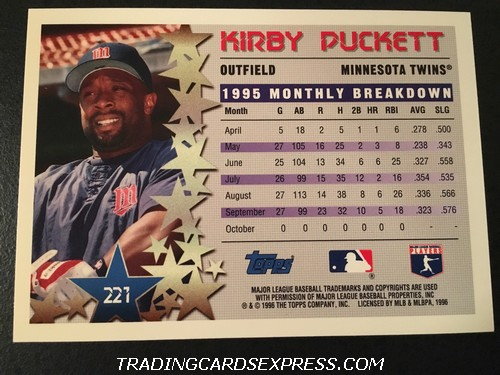 Kirby Puckett Twins 1996 Topps Star Power 221 Back