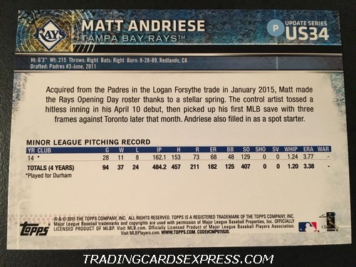 Matt Andriese Rays 2015 Topps Update Rookie Card US34 Back