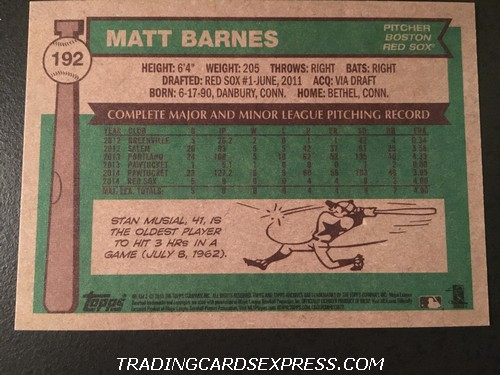 Matt Barnes Red Sox 2015 Topps Archives Rookie Card 192 Back