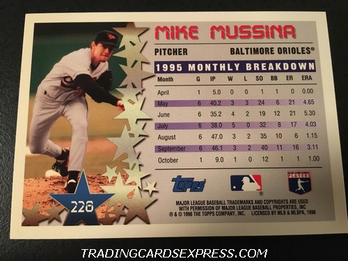 Mike Mussina Orioles 1996 Topps Star Power 228 Back