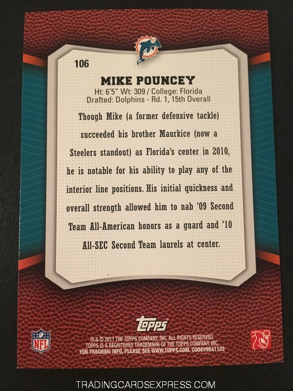 Mike Pouncey Dolphins 2011 Topps Rising Rookies Gold Rookie Card 106 Back