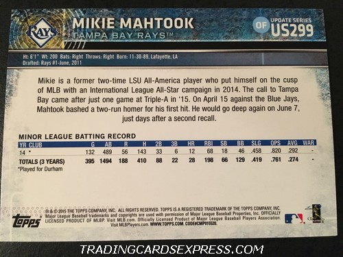 Mikie Mahtook Rays 2015 Topps Update Rookie Card US299 Back