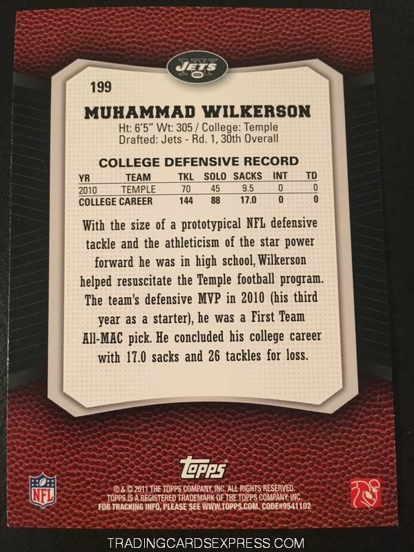 Muhammad Wilkerson Jets 2011 Topps Rising Rookies Gold Rookie Card 199 Back