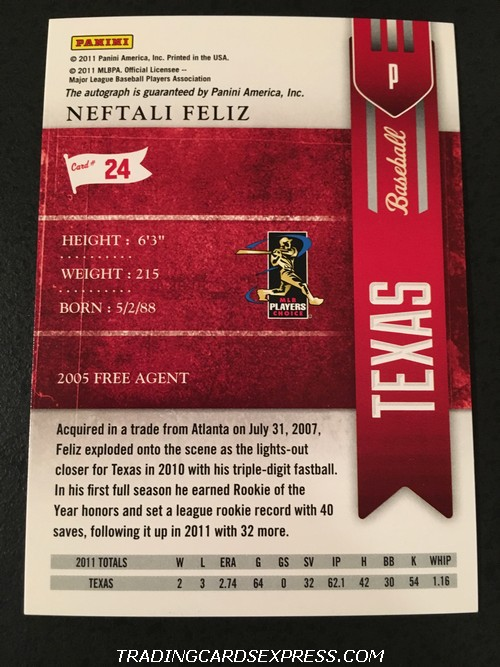 Neftali Feliz Rangers 2011 Panini Playoff Contenders Season Ticket Autograph Card 24 Back