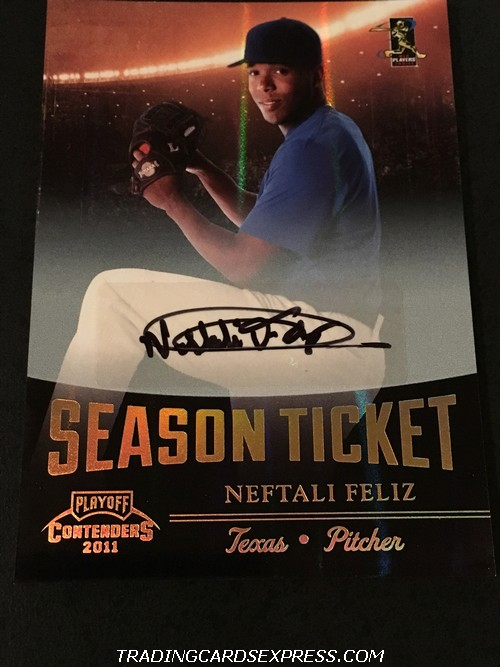 Neftali Feliz Rangers 2011 Panini Playoff Contenders Season Ticket Autograph Card 24 Front
