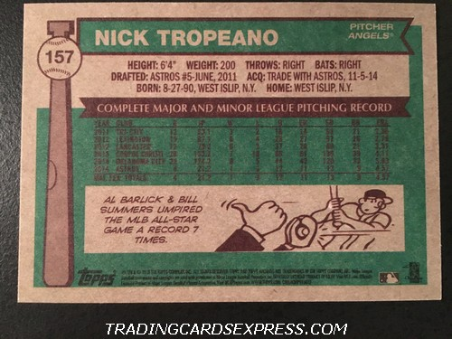 Nick Tropeano Angels 2015 Topps Archives Rookie Card 157 Back