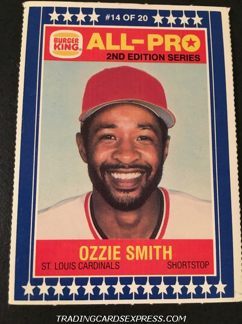 Ozzie Smith Cardinals 1987 Burger King All-Pro 14 Of 20 Back