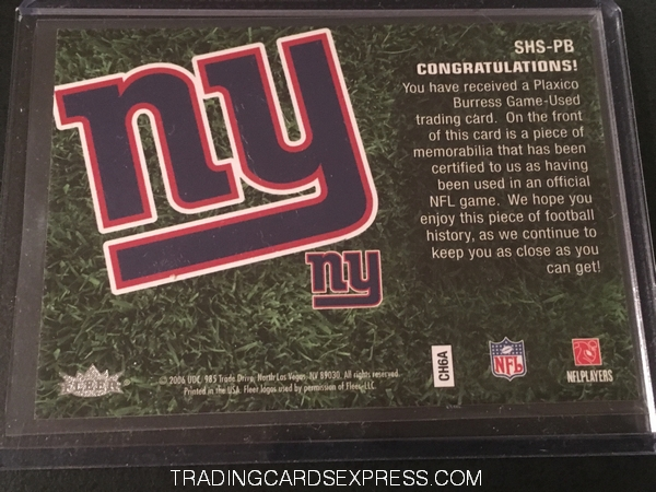 Plaxico Burress Giants 2006 Fleer Flair Showcase Stitches Jersey Card SHSPB Back