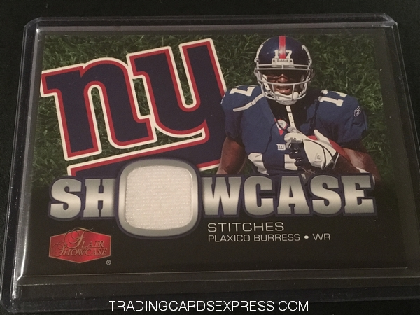 Plaxico Burress Giants 2006 Fleer Flair Showcase Stitches Jersey Card SHSPB Front