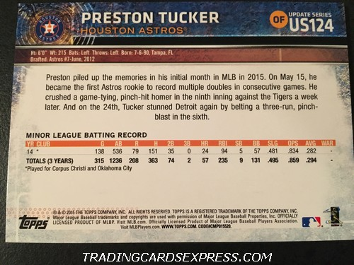 Preston Tucker Astros 2015 Topps Update Rookie Card US124 Back