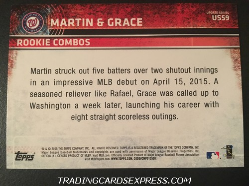 Rafael Martin Nationals Matt Grace Nationals 2015 Topps Rookie Combos Rookie Card US59 Back