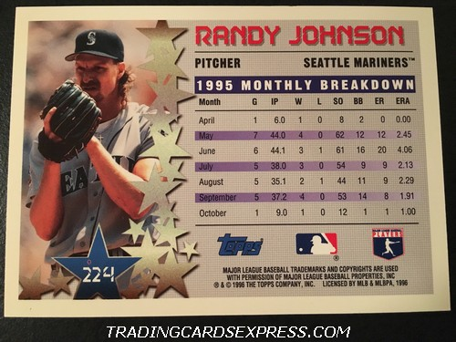 Randy Johnson Mariners 1996 Topps Star Power 224 Back