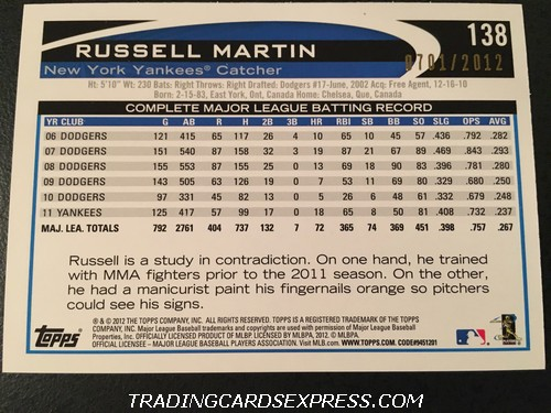 Russell Martin Yankees 2012 Topps Opening Day Blue 138 0701 2012 Back