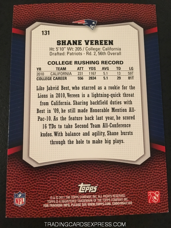 Shane Vereen Patriots 2011 Topps Rising Rookies Rookie Card 131 Back