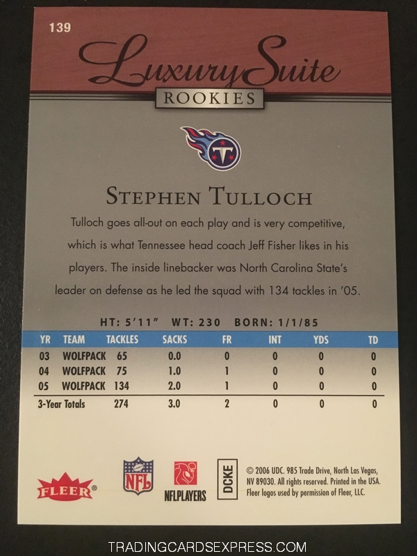 Stephen Tulloch Titans 2006 Fleer Flair Showcase Luxury Suite Rookie Card 139 015 699 Back