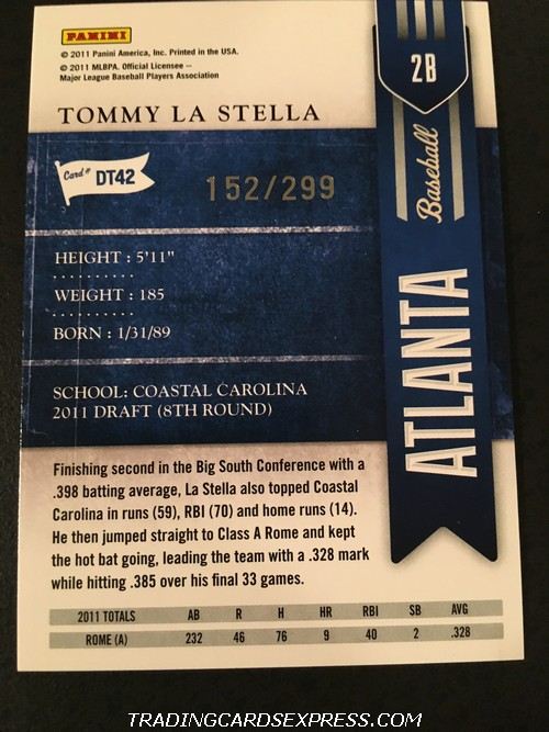 Tommy La Stella Braves 2011 Panini Playoff Contenders Draft Ticket DT42 152 299 Back