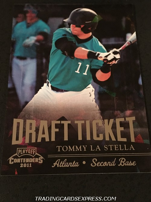 Tommy La Stella Braves 2011 Panini Playoff Contenders Draft Ticket DT42 152 299 Front