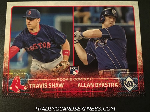 Travis Shaw Red Sox Allan Dykstra Rays 2015 Topps Rookie Combos Rookie Card US41 Front