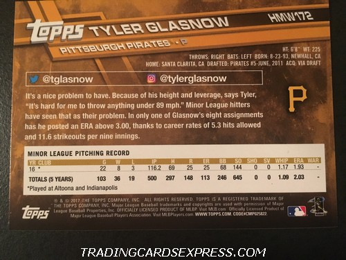 Tyler Glasnow Pirates 2017 Topps Walmart Holiday Rookie Card HMW172 Back
