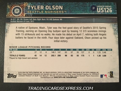 Tyler Olson Mariners 2015 Topps Rookie Card US126 Back