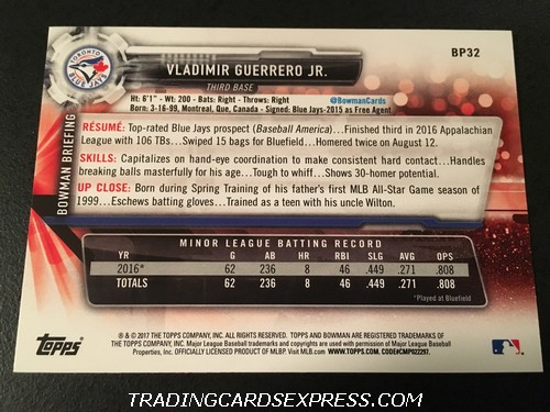 Vladimir Guerrero Jr. Blue Jays 2017 Topps Bowman BP32 Back