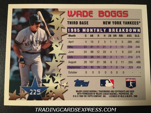Wade Boggs Yankees 1996 Topps Star Power 225 Back