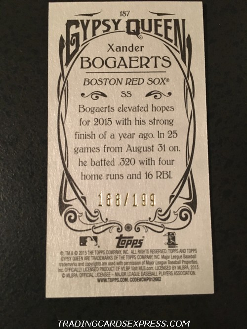 Xander Bogaerts Red Sox 2015 Topps Gypsy Queen Mini Silver 187 168 199 Back