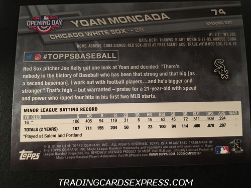 Yoan Moncada White Sox 2017 Topps Opening Day Rookie Card 74 Back