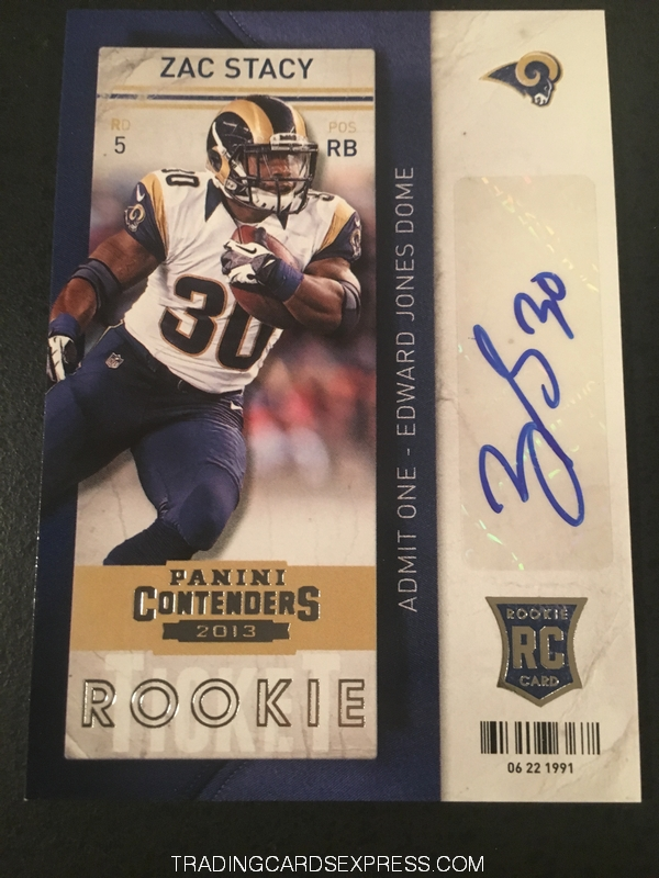 Zac Stacy Rams 2013 Panini Contenders Autograph Rookie Card 192 Front