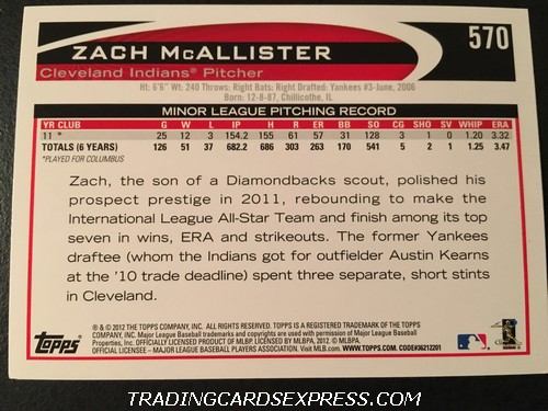 Zach McAllister Indians 2012 Topps Rookie Card 570 Back