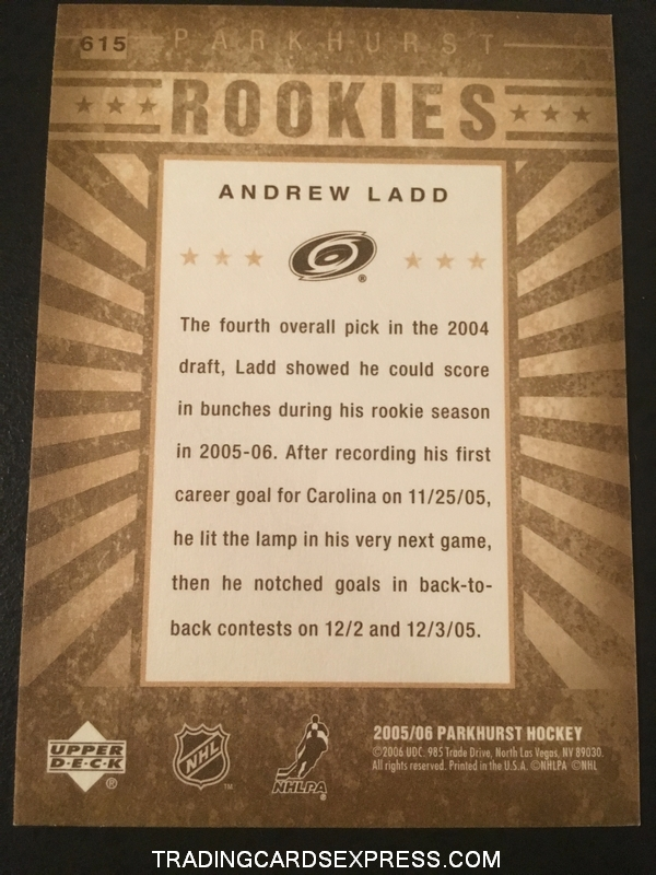 Andrew Ladd Hurricanes 2005 2006 Parkhurst Rookie Card 615 Back
