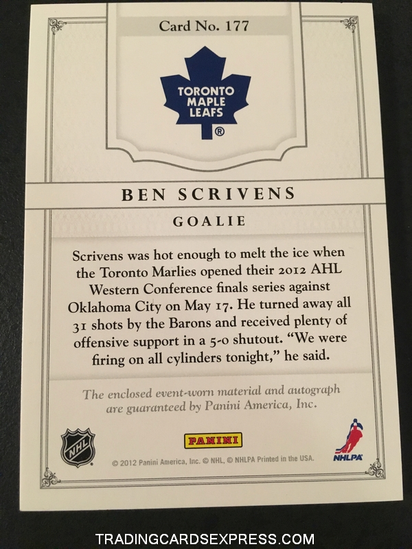 Ben Scrivens Maple Leafs 2011 2012 Panini Dominion Jersey Autograph Rookie Card 177 010 199 Back