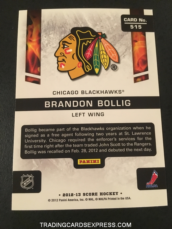 Brandon Bollig Blackhawks 2012 2013 Score Hot Rookies Card 515 Back