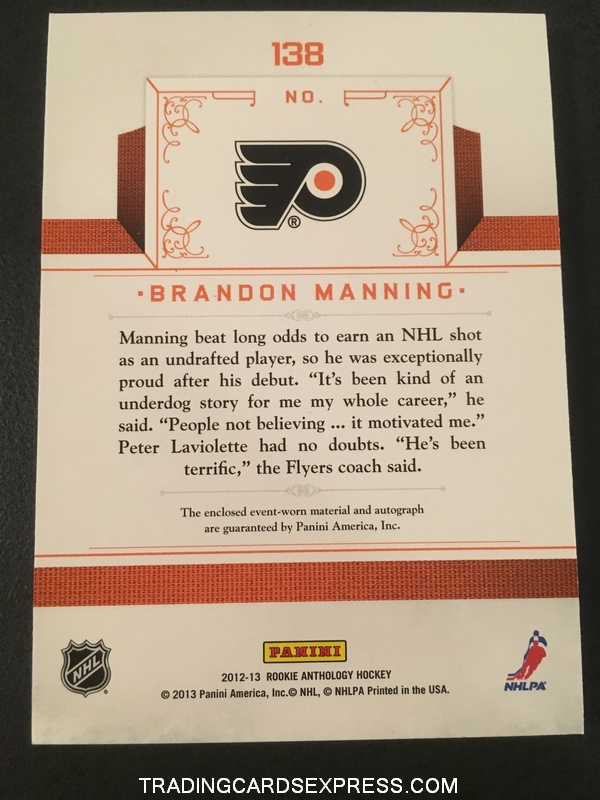 Brandon Manning Flyers 2012 2013 Panini Rookie Anthology Rookie Treasures Jersey Autograph Rookie Card 138 585 699 Back