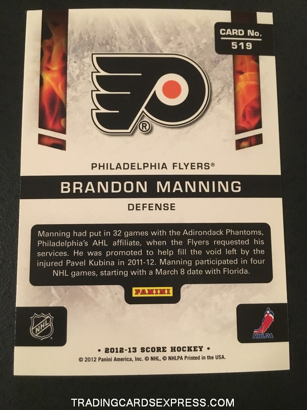 Brandon Manning Flyers 2012 2013 Score Hot Rookies Card 519 Back