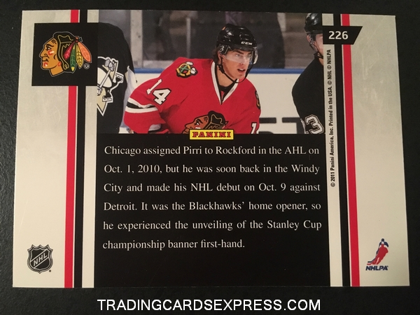 Brandon Pirri Blackhawks 2010 2011 Pinnacle Ice Breakers Rookie Card 226 Back