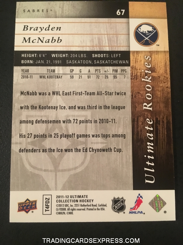 Brayden McNabb Sabres 2011 2012 Ultimate Collection Rookie Card 67 189 399 Back