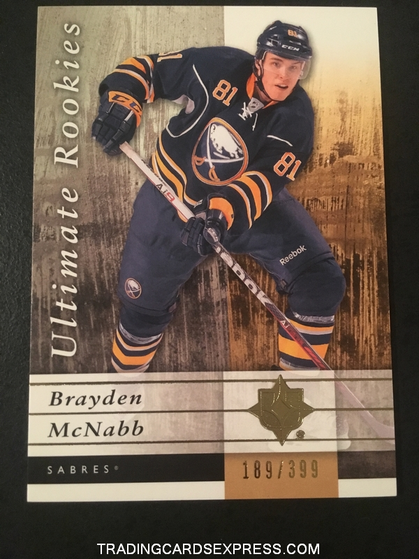 Brayden McNabb Sabres 2011 2012 Ultimate Collection Rookie Card 67 189 399 Front