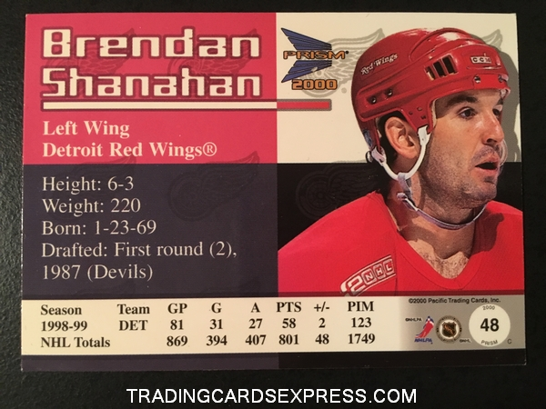 Brendan Shanahan Red Wings 1999 2000 Pacific Prism Holographic Gold 48 365 480 Back