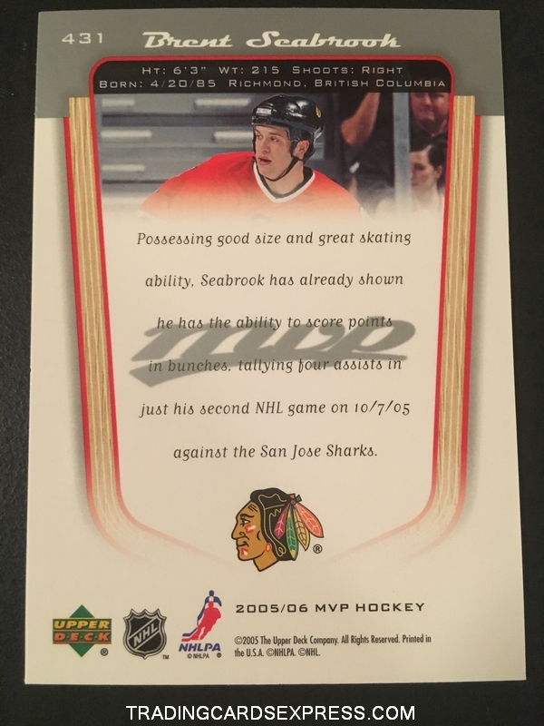 Brent Seabrook Blackhawks 2005 2006 Upper Deck MVP Rookie Card 431 Back