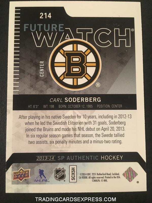 Carl Soderberg Bruins 2013 2014 SP Authentic Future Watch Rookie Card 214 0864 1299 Back
